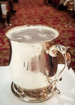 Rules Restaurant London serves its beer in old-style silver tankards - what a treat!