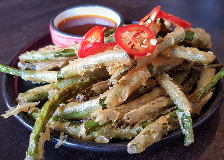 Green bean fritters, one of many great snacks at this restaurant in Tooting.