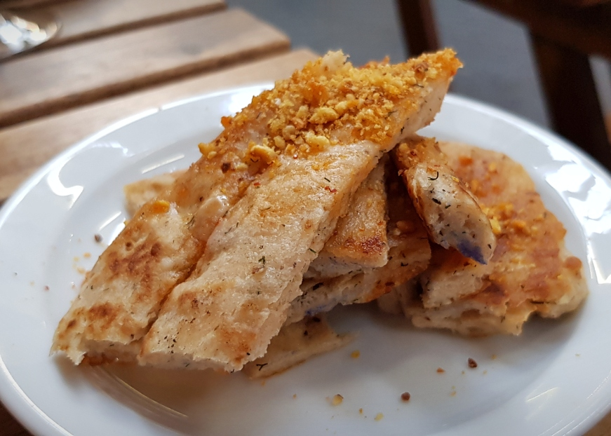 Homemade flatbread with a sprinkling of dukkah