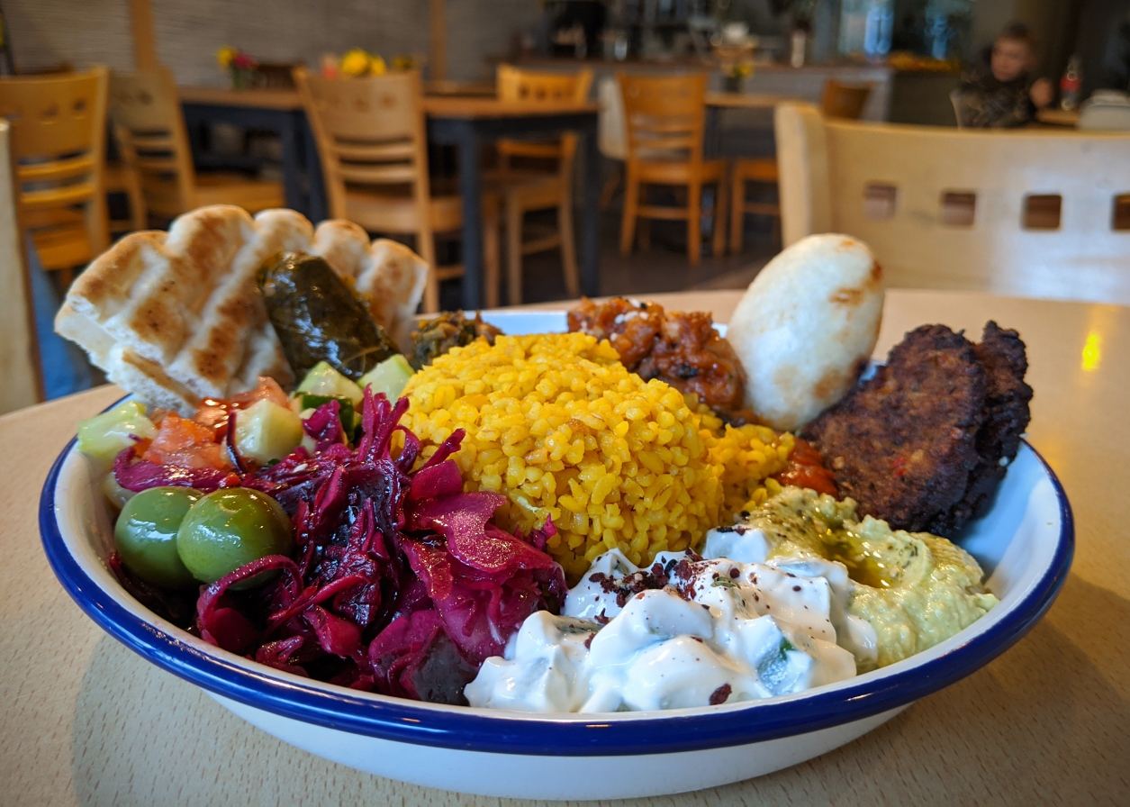 The Kuridish mezze is a perfect assemblage of various dishes - kubba, dolma, humous, olives, muhummara and other delights.