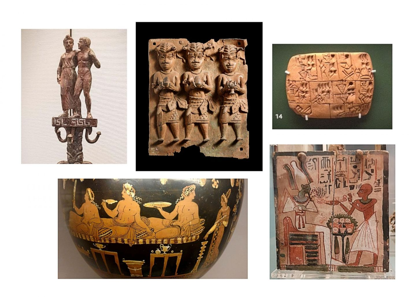 Five ancient artefacts from The British Museum, London, related to food and drink.