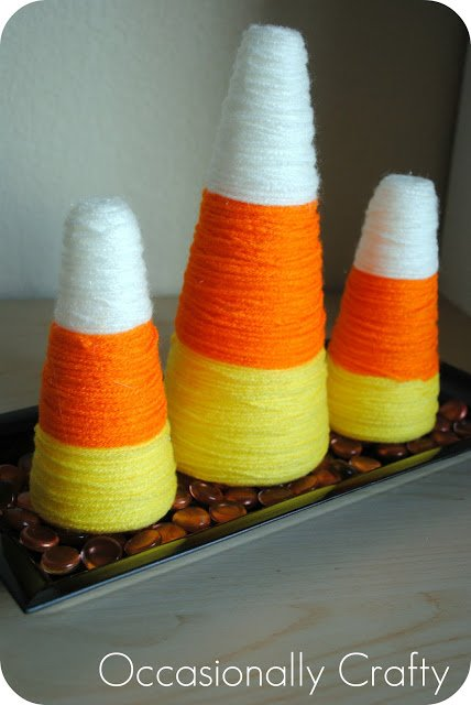 yarn candy corn decoration