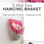 T Shirt Yarn Hanging Basket Crochet Pattern One Dog Woof