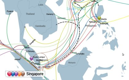 Some of the world's sub-sea cables (image from tatacommunications.com)