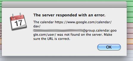 The server responded with an error: the calendar https://www.google.com/calendar/dav/@group.calendar.google.com/user/ was not found on the server. Make sure the URL is correct