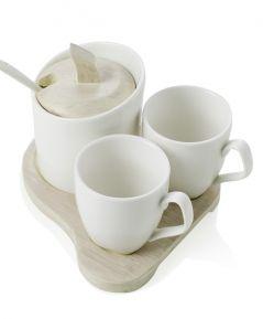Coffee set + cukornička BAMBOO White