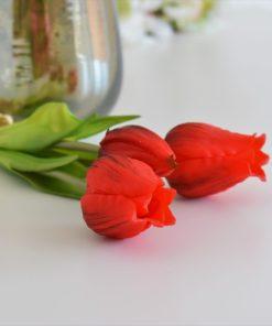 Silikónové rozkvitnuté tulipány červené