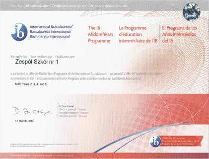 Certyfikat IB MYP g