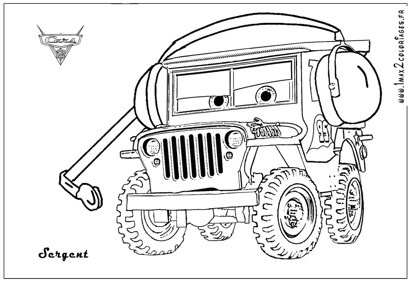 Sarge The World War Ii Jeep From The Movie Cars With His Headset On