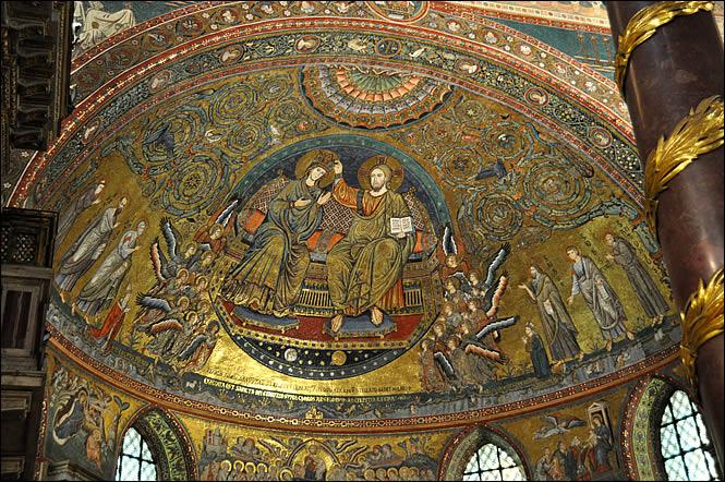 Vue d'ensemble de lamosaïque du Couronnement de la Vierge