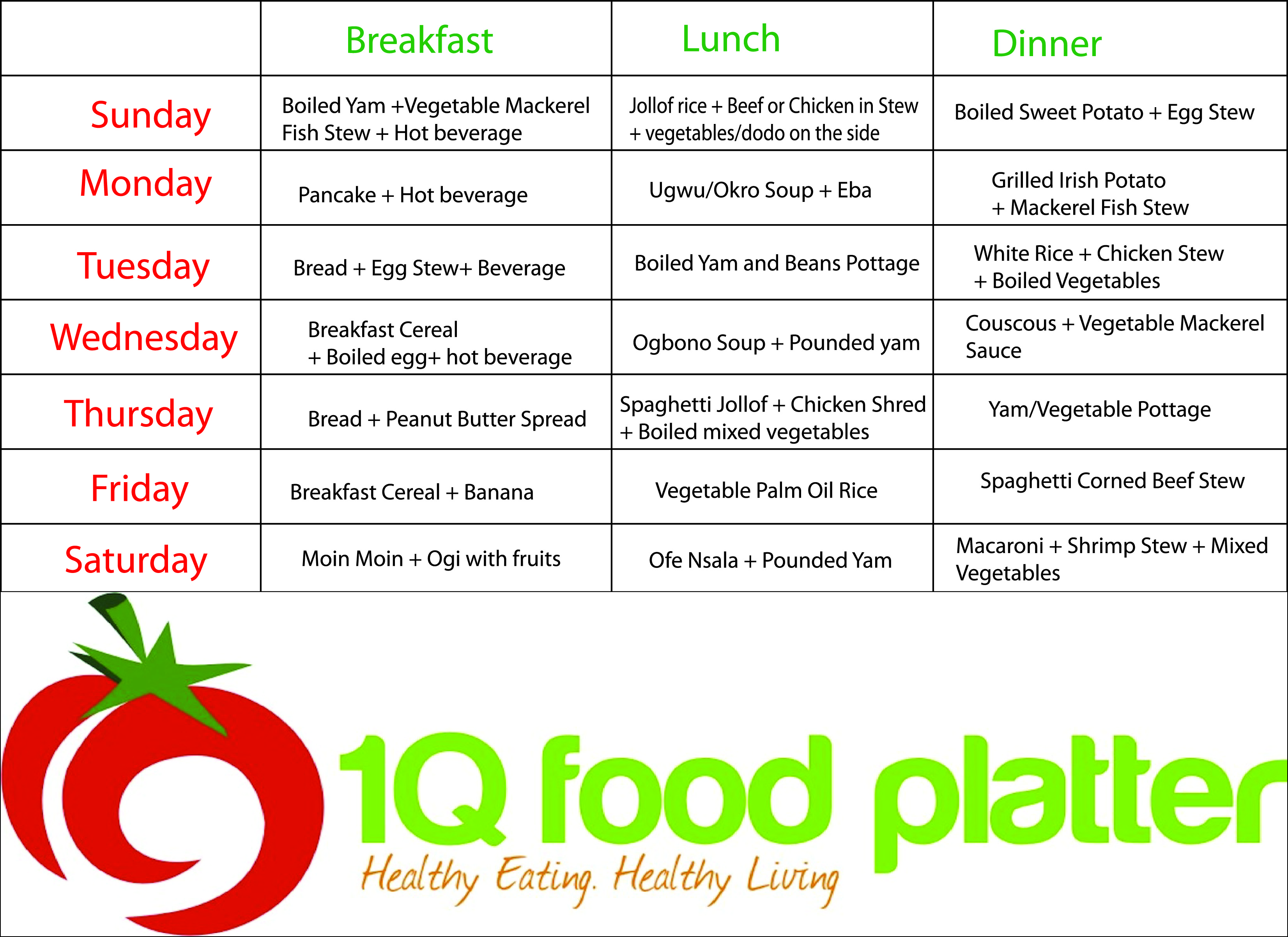 Download Monthly Meal Plans