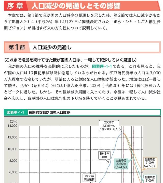 「平成27年版厚生労働白書」公表!今年の第1部のテーマは「人口減少社会を考える」!