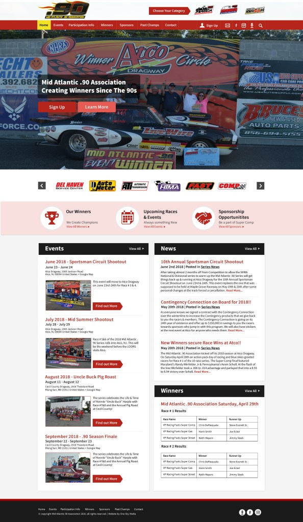 Drag racing website design for Mid Atlantic .90 Association - alternate mockup showing sponsors at top