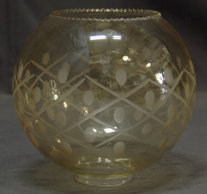Bocce e lumi in vetro. Boccia Ambra Ricambio Per Lampade E Lampadari Serigrafata Bordo Frastagliato 1solo Com Pezzi Unici Per Definizione
