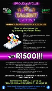 Win R1500 in online Talent show and raise funds for bowls clubs in community