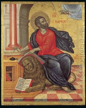 Icon of St Mark the Evangelist, 1657 Painting by Emmanuel Tzanes ...