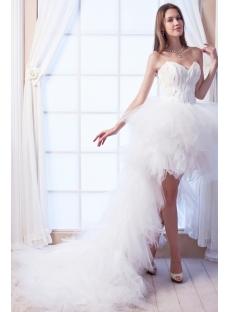 2014 Feather Luxury Short Summer Beach Wedding Dress With