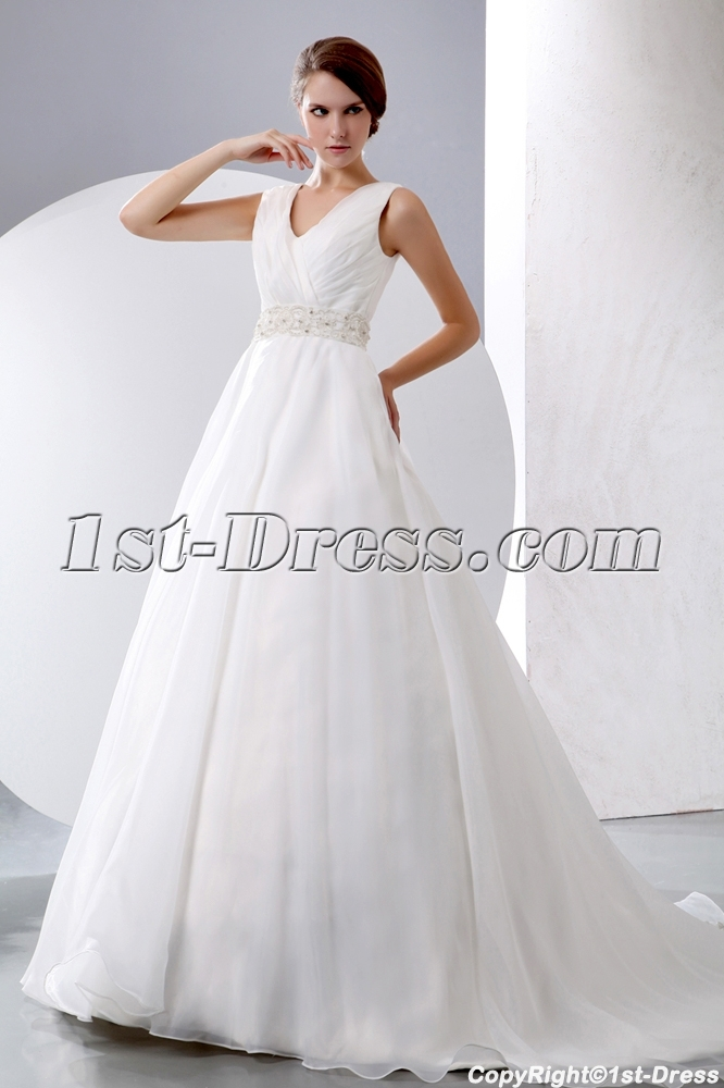 Sleeveless V Neckline Organza Winter Wedding Dresses Ball