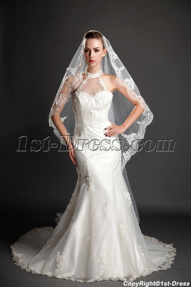 Charming Scalloped Edge Lace Cathedral Wedding Veils1st