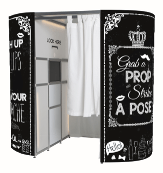 Black VIP Enclosed Booth - Vintage Chalkboard