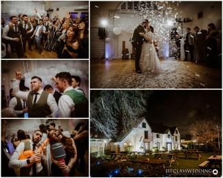 bride and groom dancing in confettii