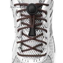 Brown elastic no tie locking shoelaces