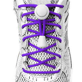 Electric Purple elastic no tie locking shoelaces