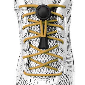 Gold elastic no tie locking shoelaces