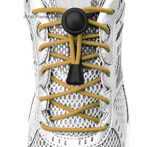 Gold elastic no tie locking shoelaces