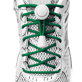 Green elastic no tie locking shoelaces