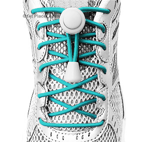 Teal Blue elastic no tie locking shoelaces