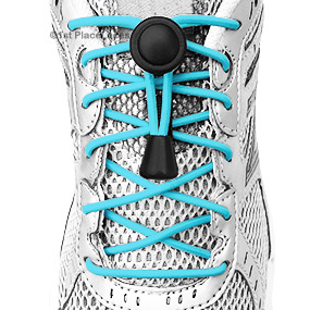 Turquoise elastic no tie locking shoelaces