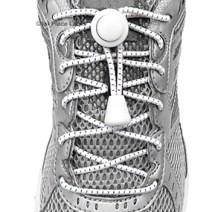 White Striped elastic no tie locking shoelaces