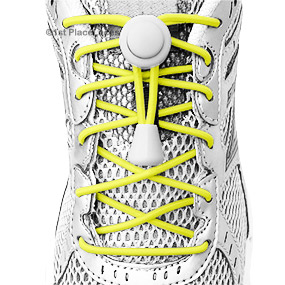 Yellow elastic no tie locking shoelaces