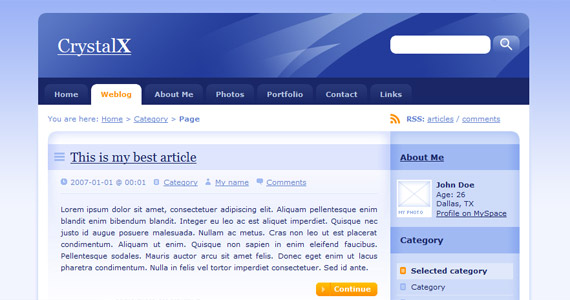 crystalx-xhtml-css-template