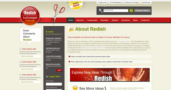 redish-xhtml-css-template
