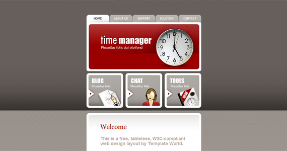 time-manager-xhtml-css-template
