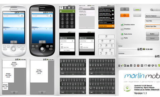 Android 1.6 Wireframe stencil for Omnigraffle