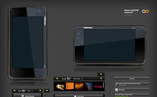 All elements of Maemo 5 GUI in PSD