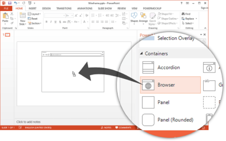 PowerMockUp allows you to directly prototype in PowerPoint