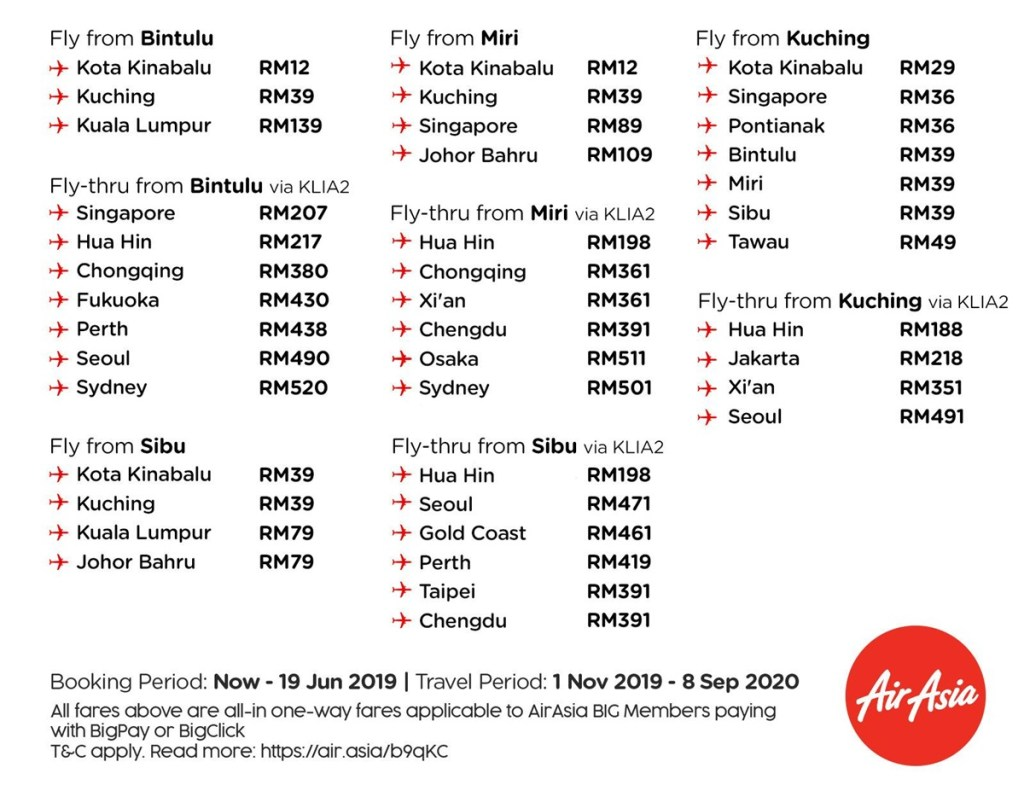 AirAsia BIG Sale June 2019 fly from Bintulu Miri Kuching Sibu
