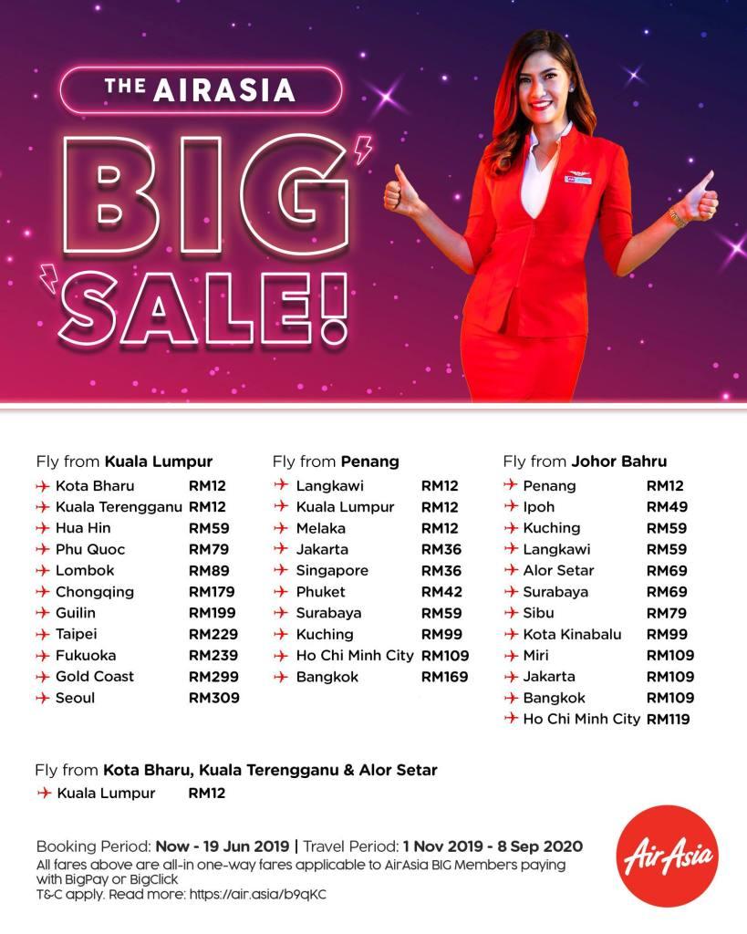 AirAsia BIG Sale June 2019 fly from Kuala Lumpur, Penang, Johor Bahru, Kota Bahru
