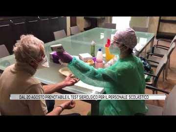 Dal 20 Agosto prenotabile il test sierologico per il personale scolastico
