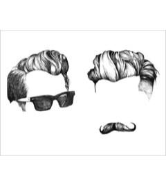 2 mandelig hår print