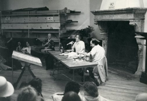 Kenneth Koch & Allen Ginsberg post-fire Parish Hall, 1979