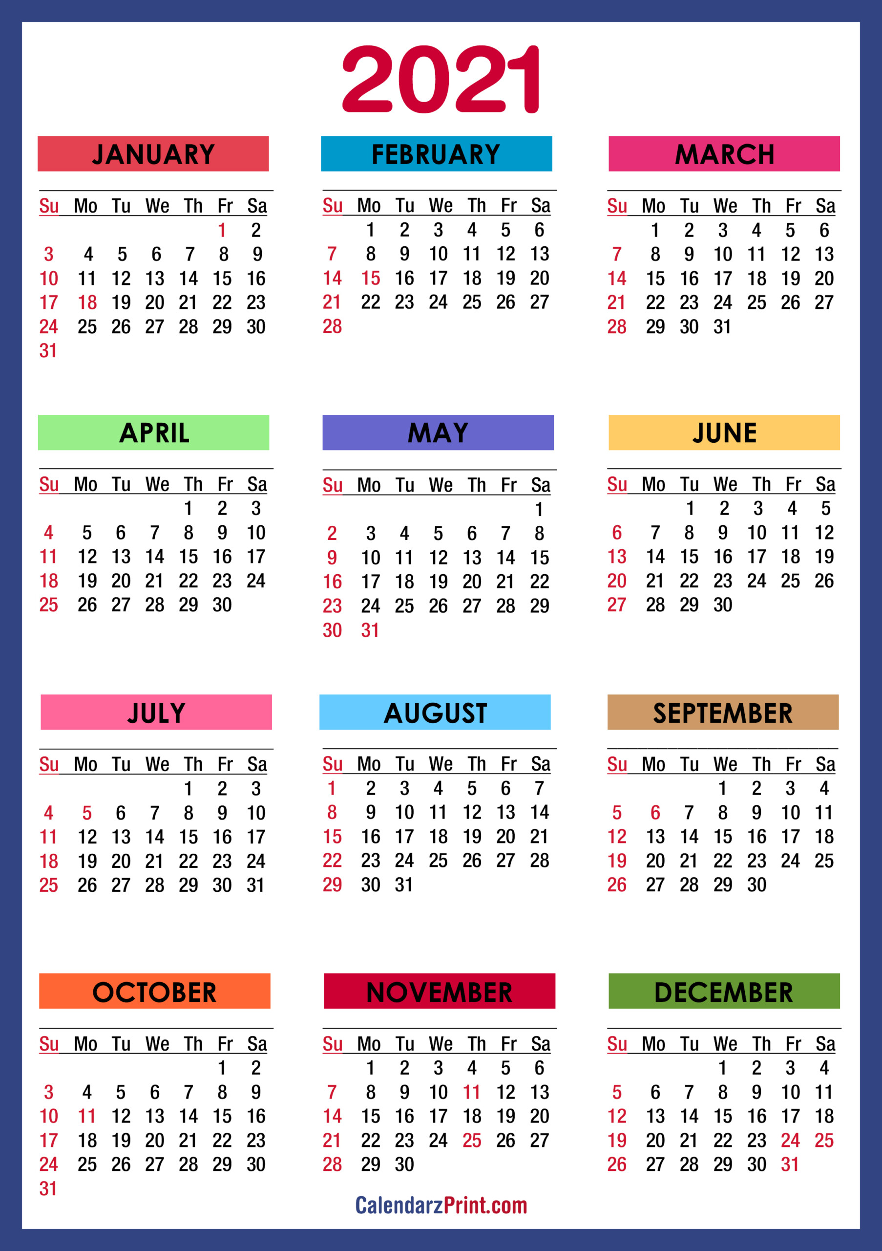 Yearly calendar showing months for the year 2021. Free Printable 2021 Monthly Calendar With Us Holidays ...