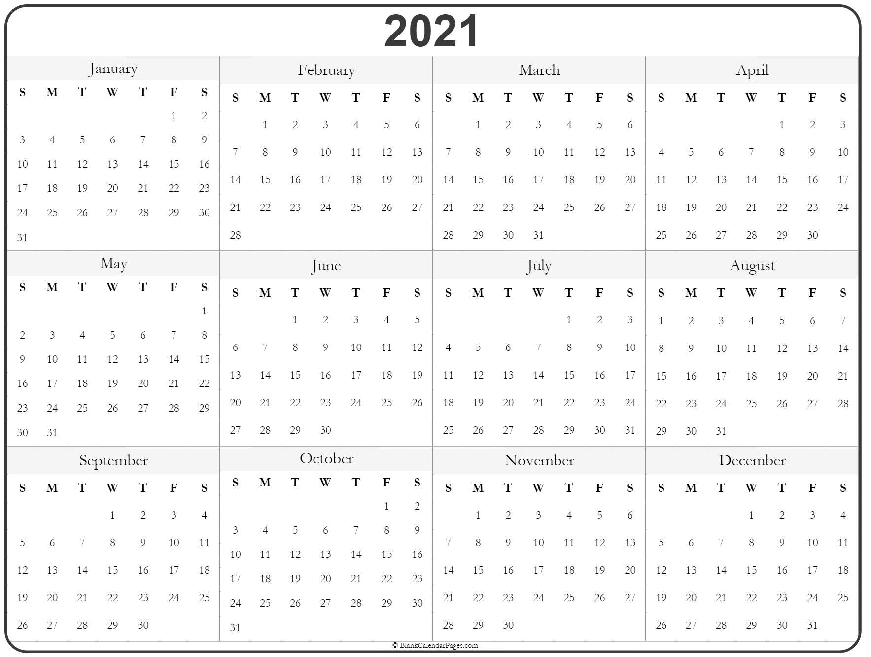 Wall calendars can be practical, unique, and fun at the same time. Blank Yearly Calendar 2021 Printable   2021 Printable ...