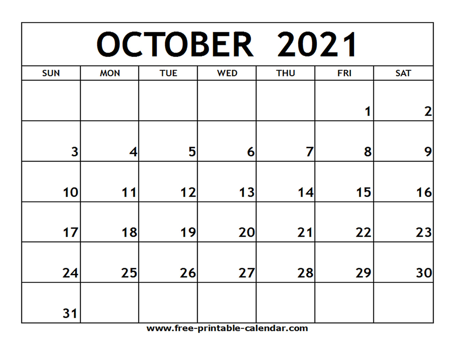 Maybe you're looking to explore the country and learn about it while you're planning for or dreaming about a trip. October 2021 Calendar Free Printable   2021 Printable ...