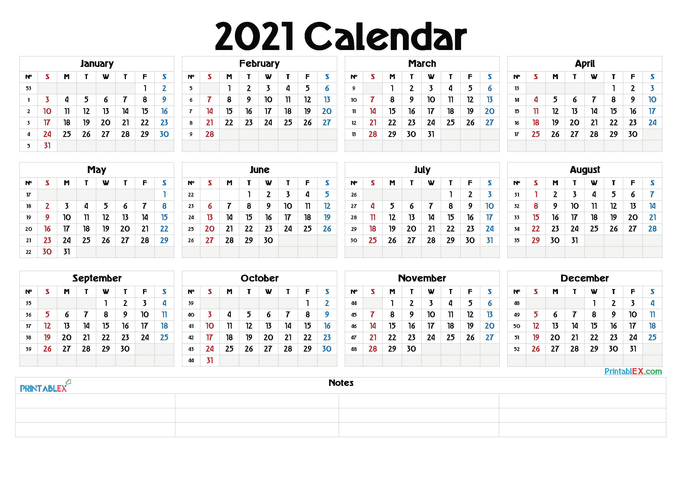 Printable blank monthly calendar for 2021 available with large square spaces for each day of the month. Whole Year Calendar 2021   Printable Calendars 2021