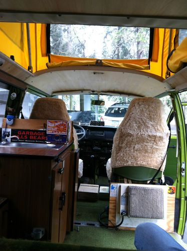 Purchase Used 1978 Volkswagen Westfalia Type 2 Bus Sage Green Plaid Interior Yellow Pop Top In